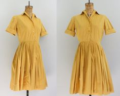 1950s mustard yellow shirtdress by Fritzi of California