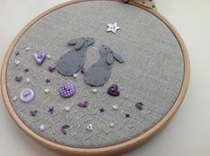 Stargazing Rabbits textile picture - embroidered hoop art £16.00