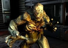 """This is an imp from the game, """"Doom 3"""".  I really like the design of this character and think that it gives a very intimidating feel. I like the colour scheme of this character also because it has a very stylistic tone using orange and blue-ish lights. It gives a very nice tone to the image and character itself."""