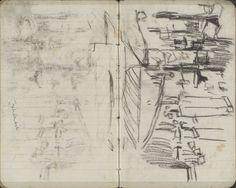 George Hendrik Breitner | Gezicht op de Nieuwendijk te Amsterdam, George Hendrik Breitner, c. 1894 | Pagina 61 en pagina 62 uit een schetsboek met 31 bladen.