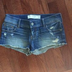 Abercrombie distressed shorts Super short factory distressed Abercrombie & Fitch  Size 0 (25)  Worn a handful of times only.  Bundle and save! Abercrombie & Fitch Shorts Jean Shorts