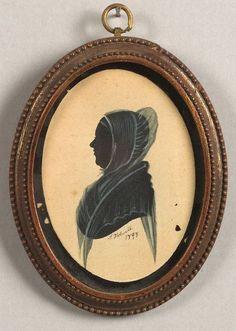 American School, 19th Century  Miniature Silhouette Portrait of a Woman.