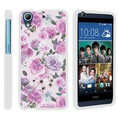 HTC Desire 626 Case SNAP SHELL Hard White Plastic Case with Non Slip - Pink Purple Flower