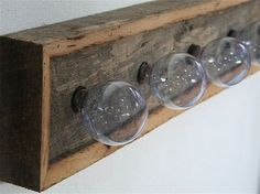 Hanging Walls Rustic Vanity Light Fixtures Wooden Base Wood Reclaimed Oak Barnwood $125.00 Via Etsy
