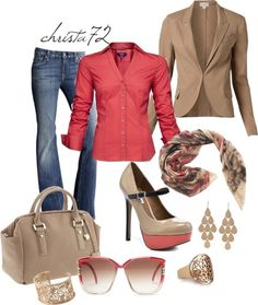"""""""Coral and Blazer"""" by christa72 on Polyvore"""