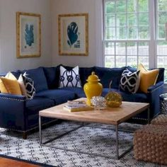 Ivory And Navy Living Rooms - Design photos, ideas and inspiration. Amazing gallery of interior design and decorating ideas of Ivory And Navy Living Rooms in living rooms, kitchens, boy's rooms by elite interior designers - Page 2 Blue And Yellow Living Room, Blue Couch Living Room, Navy Blue Living Room, Living Room Paint, New Living Room, Grey Yellow, Dark Blue, Living Room Ideas Navy Blue Sofa, Blue Living Room Furniture