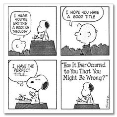 Theology. Charlie Brown & Snoopy Cartoon.