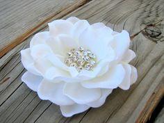 Bridal Antique White Gardenia Flower Fascinator Hair Clip Wedding Bride Hair Handmade by EnchantedlyYours on Etsy