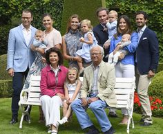 The Swedish royals gather on the manicured lawns at their summer residence, Solliden: Pictured from left: (top row) Prince Daniel, Crown Princess Victoria, Prince Oscar, Princess Madeleine, Princess Leonore, Christopher O'Neill, Prince Nicolas, Princess Sofia, Prince Alexander, Prince Carl Philip. Front row: Queen Silvia, Princess Estelle, King Carl Gustaf