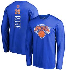 Derrick Rose New York Knicks Backer Long Sleeve T-Shirt - Royal - $31.99