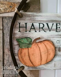 DIY Rustic Pumpkin Sign with Reclaimed Whiskey Barrel Sign by Larissa of Prodigal Pieces | prodigalpieces.com #prodigalpieces #farmhouse #pumpkin #fall Whiskey Barrel Planter, Crate Side Table, Pumpkin Drawing, Pumpkin Uses, Barrel Rings, Wash Stand, Button Art, Fall Decor, Furniture Redo