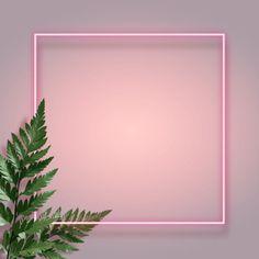 Pink Neon Advertising Frame Leaf Simple Background