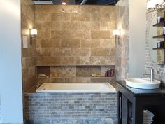 Tumbled Stone Tub Surround U0026 Floor Provided By The Sandel Group  Tile Stone Glass  Installations Duvall 98019 | Bathroom | Pinterest | Glass Installation, ...