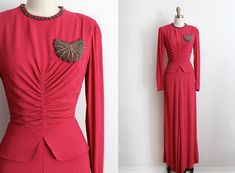 vintage 1940s gown // 40s pink crepe beaded by TrunkofDresses