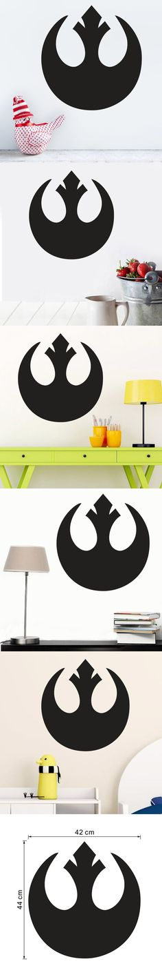 Creative Home Decor Black Plane Wall Stickers Star Wars Totem Pattern for Study Room Mural Art Wallpapers 42*44 CM $10.58