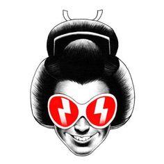 shohei otomo, tradición underground Geisha, Ink Illustrations, Illustration Art, Japanese Pop Art, Blowing Bubbles, Lion Tattoo, Character Portraits, Typography Art, Graphic Art