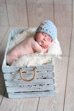 Baby Hats Baby Boy Hats Crochet Baby Hats Baby Boy Button Hats Newborn Baby Boy Hats Newborn Photography Props Baby Hats Photo Props Boys. $22.50, via Etsy.