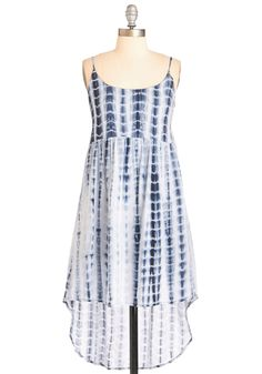 Festival Nights Dress. The sun sets behind the mountains in the distance as you make your way to the main stage in this tie-dyed dress. #blue #modcloth