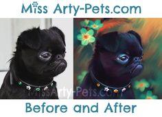 Bennie!  Portrait by Miss Arty-Pets! (Anita Drieseberg) #petportrait #beforeandafter #pug