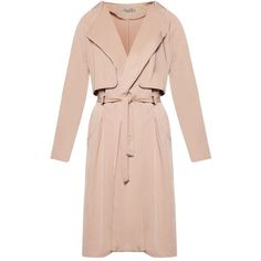 Zalia Trench Coat ❤ liked on Polyvore featuring outerwear, coats, pink trench coat, long sleeve coat, sash belt, trench coats and pink coat