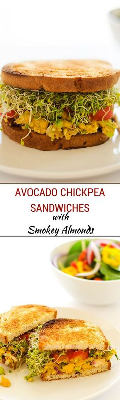 Avocado Chickpea Sandwiches with Smokey Almonds - These amazing vegan and gluten free sandwiches are so packed with flavor! A perfect weekday lunch. Visit Sriracha Box Now! Sandwich Vegan, Vegan Burgers, Veggie Sandwich, Vegan Vegetarian, Vegetarian Recipes, Healthy Recipes, Vegan Meals, Raw Vegan, Free Recipes