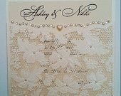 "Ivory Pearl Flora Laser Cut Pocket Wedding Invitation SAMPLE ""Clara"""