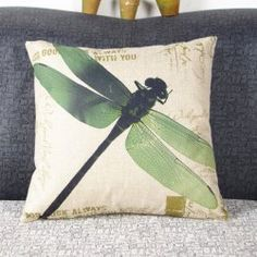 Fresh Dragonfly Pattern Linen Decorative Pillowcase (Without Pillow Inner) (GREEN) | Sammydress.com Mobile