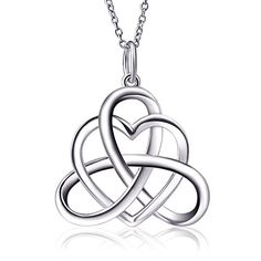 925 Sterling Silver Good Luck Irish Heart with Triangle Celtic Knot Vintage Pendant Necklace Rolo Chain 18 ** You can find out more details at the link of the image.