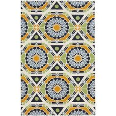 5' x 8' Prismatic Paradigm Navy Blue, Mango Orange and Beige Knotted Wool Area Throw Rug