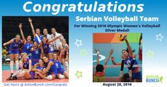 Silver medal for ‪Serbian women's volleyball team at the 2016 ‪‎Olympic Games ‬in ‪Rio‬! Well done! We are proud of you!   #news #volleyball #RioOlympics2016 #Rio2016 #‎OlympicGames #Serbia #Srbija #SRB #China #CHN  http://www.activebunch.com/congrats-000011_160822125311