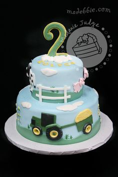 farm animal boy birthday cake...change the tractor color to RED, of course.