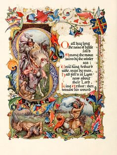 Alberto Sangorski illustration from Morte D'Arthur: A Poem by Alfred Lord Tennyson Medieval Manuscript, Medieval Art, Renaissance Art, Illuminated Letters, Illuminated Manuscript, Illustration Art Nouveau, Illumination Art, Book Of Kells, Antique Books