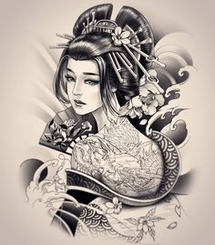 Geisha Design By 💥 💥 Geisha Tattoos, Tatoo Geisha, Geisha Drawing, Geisha Tattoo Design, Geisha Art, Sketch Tattoo Design, Japan Tattoo Design, Japanese Tattoo Designs, Japanese Tattoo Art