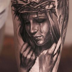 woman crying, tattoo by niki norberg