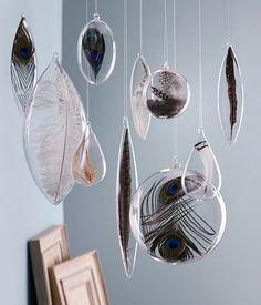 glass specimen feather ornaments