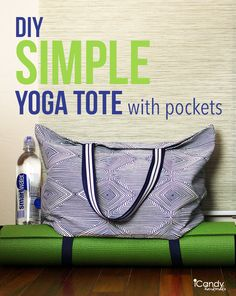 Simple Yoga Tote Tutorial - Sewing - Gym Bag Lined it, added pocket outside and in, made handles matching front pocket. Sewing Hacks, Sewing Tutorials, Sewing Projects, Diy Projects, Colar Diy, Tote Tutorial, Tutorial Sewing, Diys, Do It Yourself Inspiration