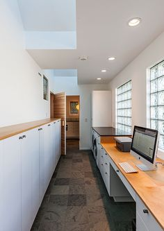 Hall House by Salmela Architect  :::  windows, glass block :::  home office  :::  cabinetry, home office