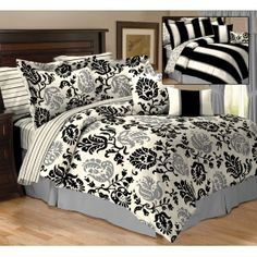 Get 20 different looks with the Cobble Hill Reversible 10 Piece Bedding, very cute! King Size Comforter Sets, King Size Comforters, Bedding Sets, White Bedding, White Bedroom, Cheap Home Decor, My Dream Home, Home Kitchens, Sweet Home