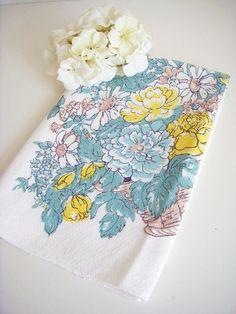 upcycled vintage tea towel via gathering vintage #yellow #vintage  #tea towel #tablecolth