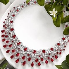Graff diamonds Never Disappoints us! Gorgeous Graff Ruby and Diamond Necklace via by jewelry journal. Graff Jewelry, Ruby Jewelry, Luxury Jewelry, Diamond Jewelry, Fine Jewelry, Gold Jewelry, Ruby And Diamond Necklace, Ruby Necklace, Diamond Pendant Necklace