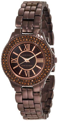 Anne Klein Women's 10/9537BMBN Swarovski Crytals Accented Brown Ion-Plated Bracelet Watch : Disclosure: Affiliate link