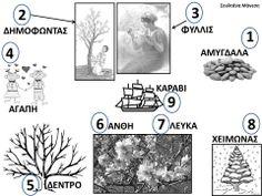 Δραστηριότητες, παιδαγωγικό και εποπτικό υλικό για το Νηπιαγωγείο: Ο μύθος της Αμυγδαλιάς στο Νηπιαγωγείο: Αριθμημένη Ακροστιχίδα και Εικονόλεξο