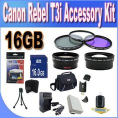 Canon T3I Accessory Saver Kit (58mm Wide Angle Lens + 58mm 2X Telephoto Lens + 58mm 3 Piece Filter Kit + 16GB SDHC Memory + Extended Life Battery + Ac/Dc Charger + USB Card Reader + Deluxe Camera Case w/Strap + Microfiber Cleaning Cloth + LCD Screen Protectors + Mini Tripod + Accessory Saver Bundle!) by BVI. $69.62. Kit Includes! 1- 16GB SDHC Memory Card (Don't Miss a Memory!) 1- USB SDHC Memory Card Reader (Download Images Quicker!) 1- 58mm UV, Florescent, Polarizer Filter Kit...