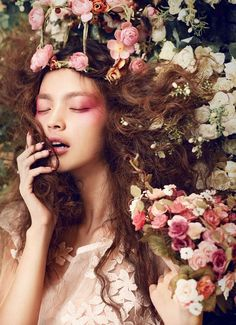 I met a girl with flowers in her hair , not a crown or a clip , but cherry blossoms , they bloomed from her ears and her scalp and the hollow of her neck , she was a garden of eden...... __________ ( Nothing much )