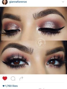 Pink eye makeup for brown eyes.