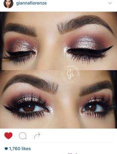 Pink eye makeup for brown eyes.