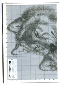 Black & white wolf cross stitch 1