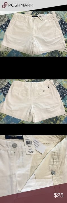 """Polo Ralph Lauren Pony Logo Chino Shorts NWT (tag accidentally detached from the item) Cotton White Chino Short sz 14 with 4"""" inseam. Never had the chance to wear, and just sitting in my closet. Please see & check all pictures before purchasing. Price is negotiable, so do not hesitate to make a reasonable offer. Thank you for checking  my closet 😉❤️ Polo by Ralph Lauren Shorts"""