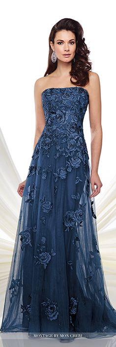 Montagem de Mon Cheri - 216.976 - Strapless tule e renda vestido A linha bordado com mão-beading dispersa, decote suavemente curvo, corpete de renda bordado com cintura caiu, bordado cascatas para baixo da saia de tule sobreposição com trem de varredura.  Correspondentes xale e alças removíveis included.Sizes: 4 - 20, 16W - 26WColors: Azul escuro, Mink