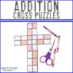 ADDITION Cross Puzzles | Great for a Religious or Christian Bulletin Board! | 1st, 2nd, 3rd grade, Activities, Basic Operations, Games, Homeschool, Math, Math Centers, Religion